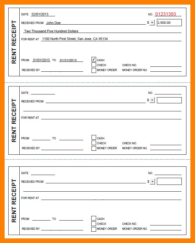 6+ printable renters receipt | student resume template