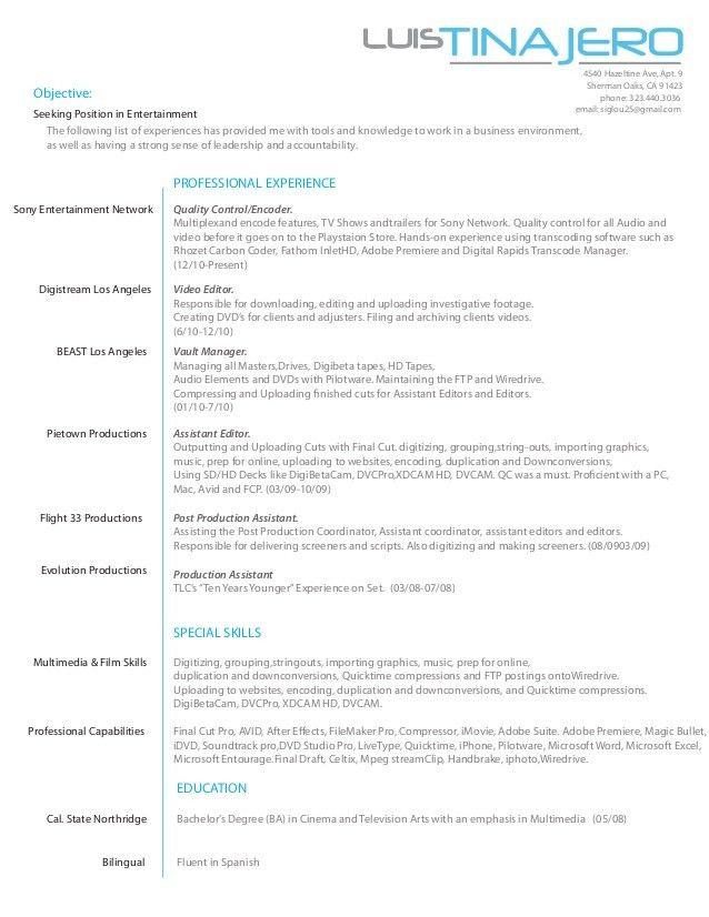 Luis tinajero's resume 2013