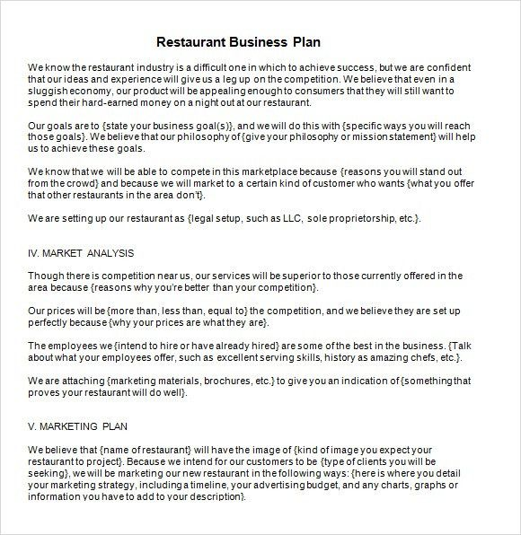 Free Business Plan Template. Free Restaurant Business Plan Sample ...
