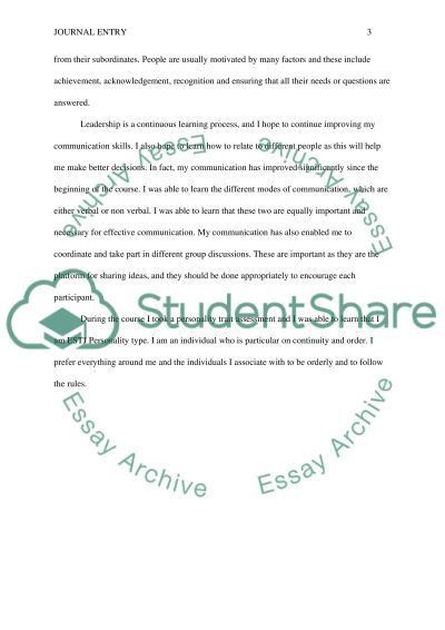 Example of journal entry essay