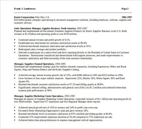 Sample Operations Manager Resume - 9+ Download Free Documents in ...