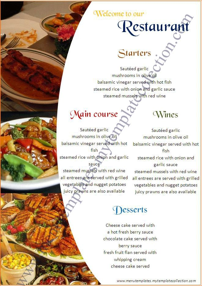 4+ catering menu template | Procedure Template Sample