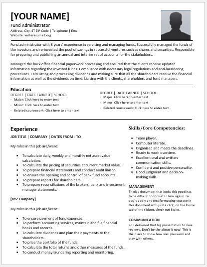 Fund Administrator Resumes for MS Word | Resume Templates