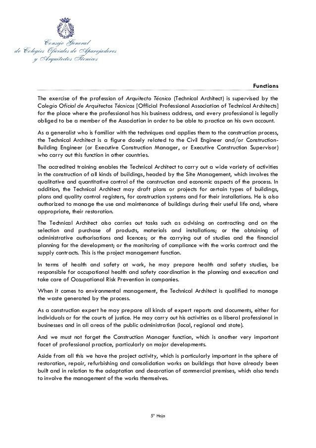 Cover Letter of secretary general of the Spanish Council of technical…