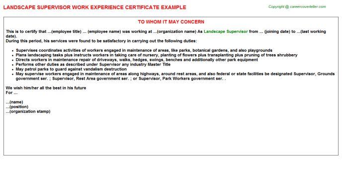 Landscape Supervisor Work Experience Certificate