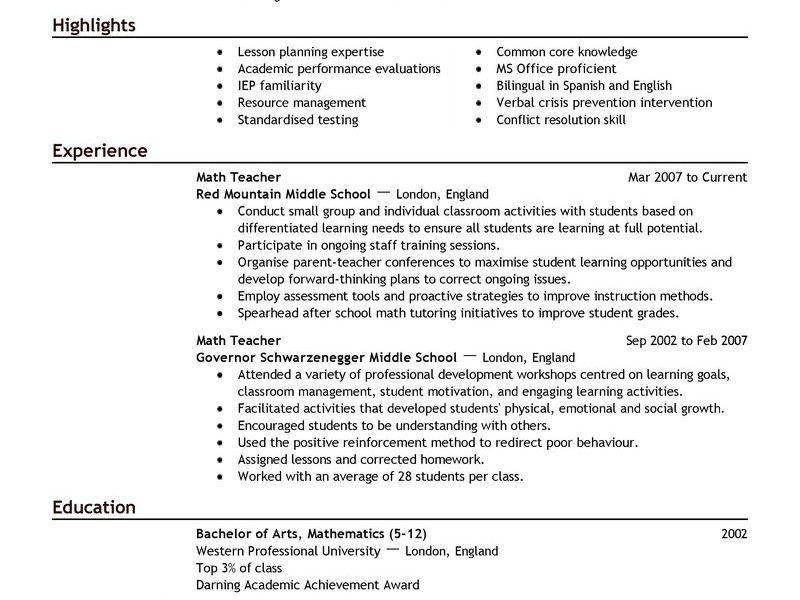 resume of teacher sample teacher resume samples writing guide