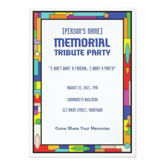Memorial Tribute Funeral Party 5×7 Paper Invitation Card ...