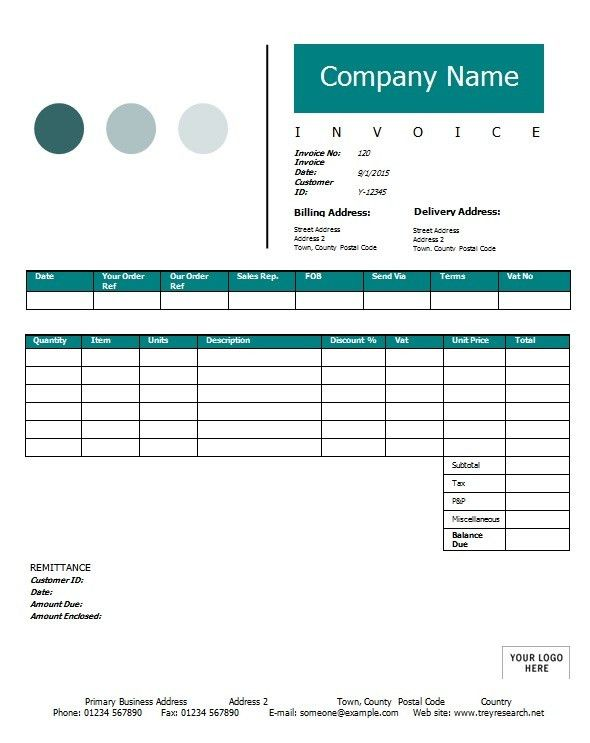 Invoice Receipt Template - Word Excel Formats