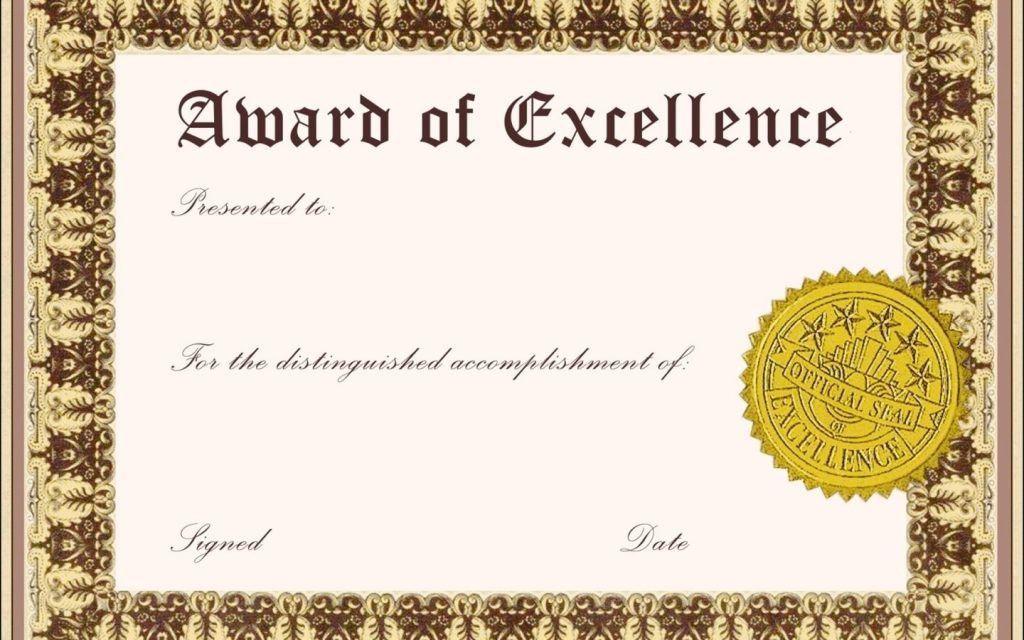 Blank Award Certificate Templates Word Sample Invitations Original ...