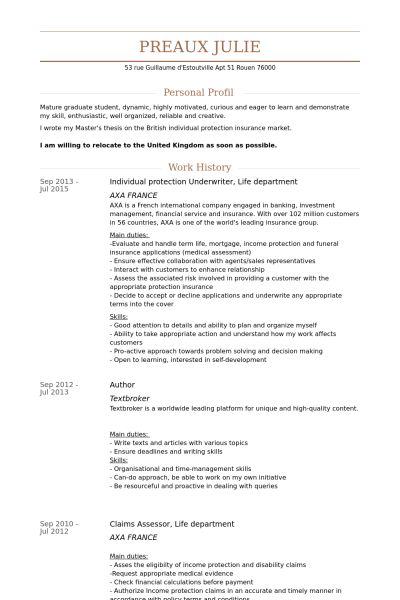 Junior Underwriter Resume Model Literary Essay Young Essayist - Sample Personal Protection Consultant Resume