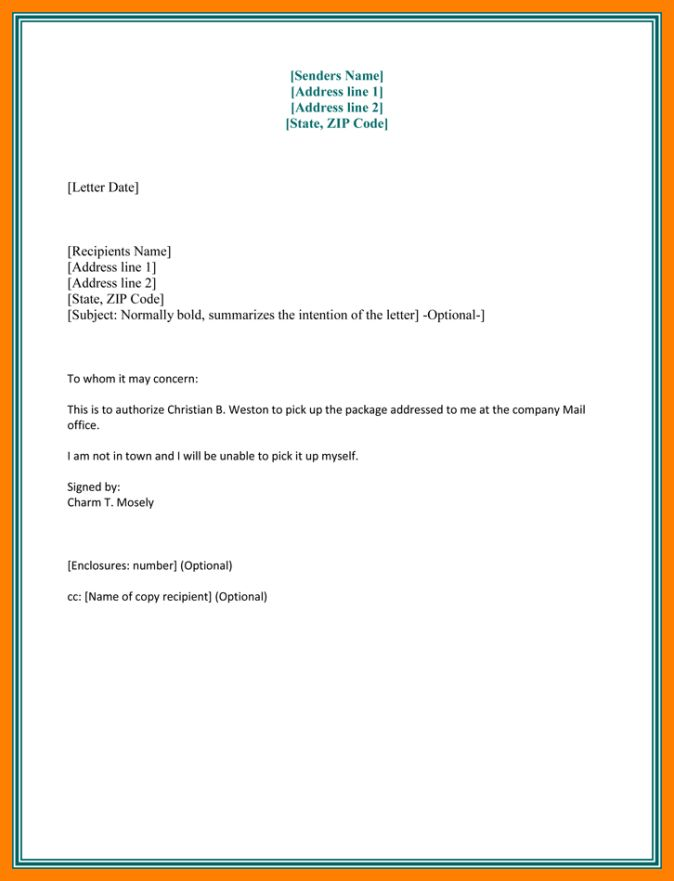 3+ sample of authorisation letter | cover title page
