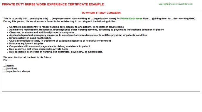 Private Duty Nurse Work Experience Certificate