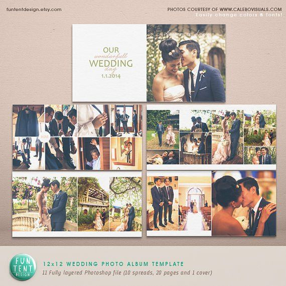 Wedding Album Photoshop Template /Modern Clean by FUNTENTDESIGN ...