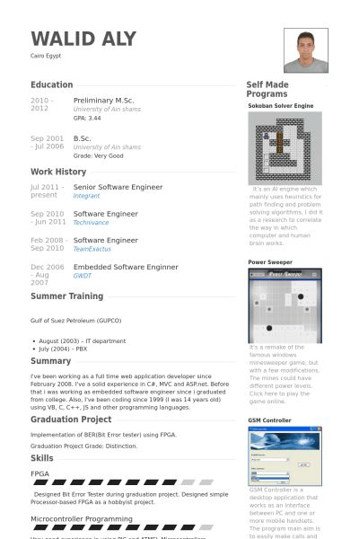 Senior Software Engineer Resume samples - VisualCV resume samples ...