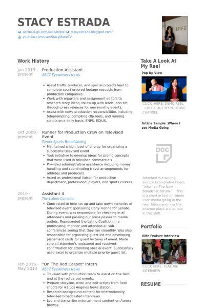 Production Assistant Resume samples - VisualCV resume samples database