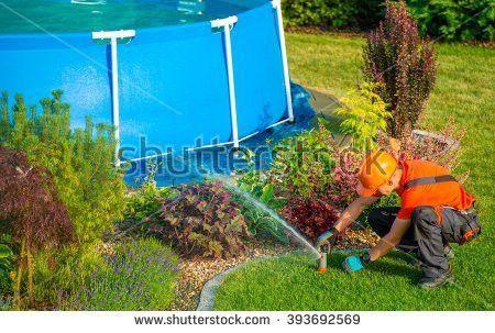 Satisfied Professional Gardener Shoulder Lawn Mower Stock Photo ...