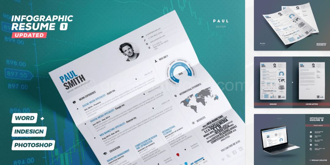 Download Infographic Resume CV Template Free - Green Hat World