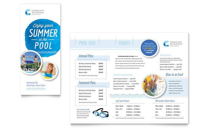 Community Swimming Pool Brochure Template - Word & Publisher