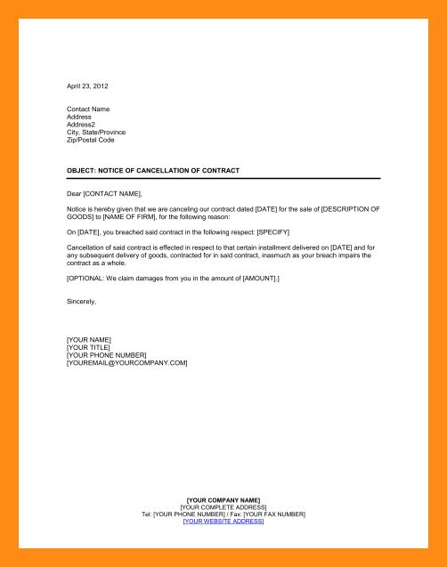 Cancellation Of Contract Letter Notice Of Termination Of Contract – Notice of Cancellation Letter