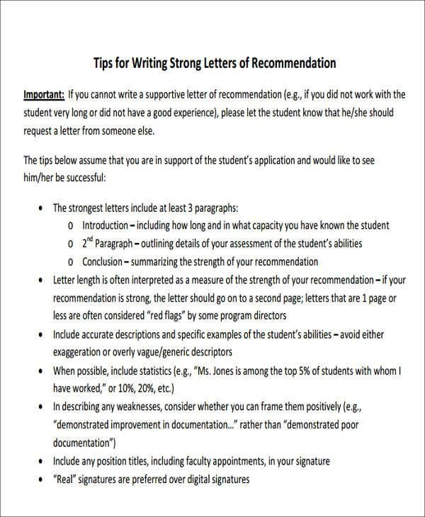 Sample Letter of Recommendation for Internship - 6+Examples in ...