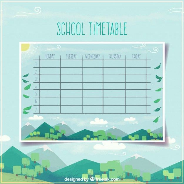 School timetable template with modern landscape design Vector ...