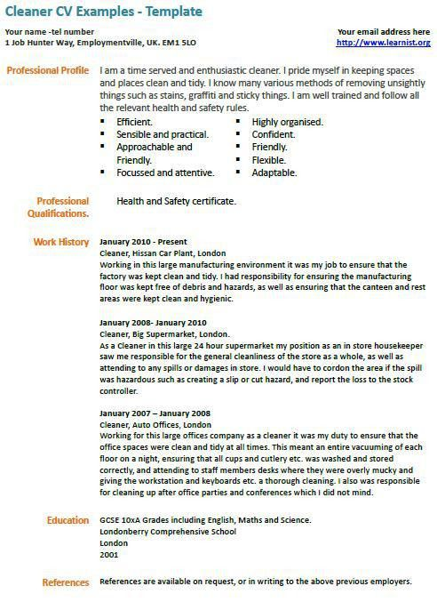 sample resume cleaner cleaner cv sample cleaning of working