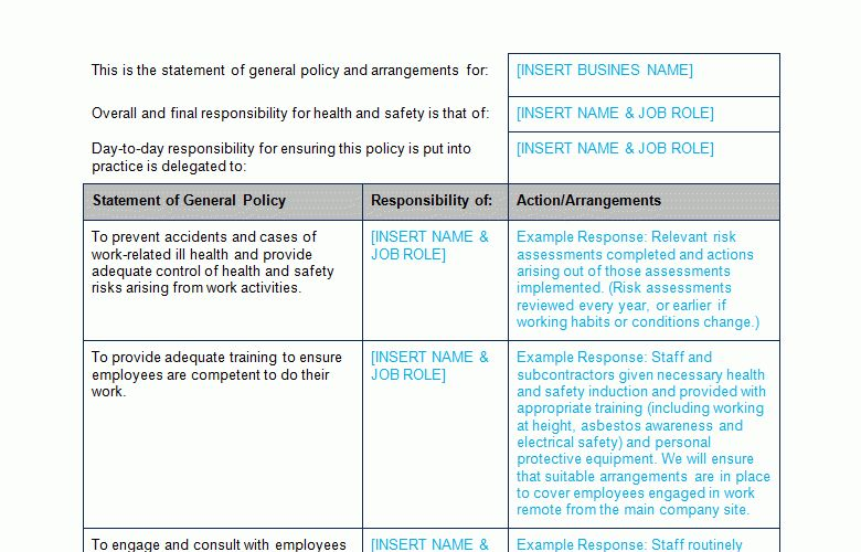 Health and Safety Policy and Risk Assessment Template - Bizorb