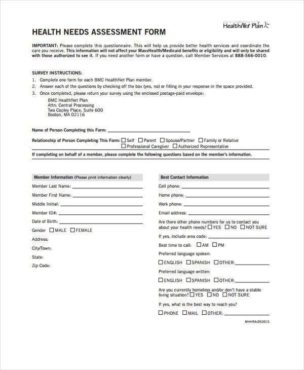 28+Sample Needs Assessment Form