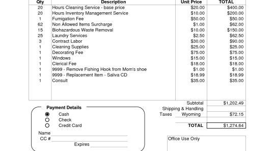 House Cleaning Invoice Template. house cleaning chore list ...