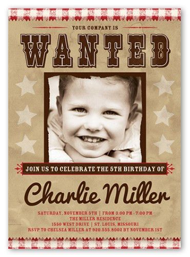 Wanted Sign 5x7 Invitation | Birthday Invitations | Shutterfly