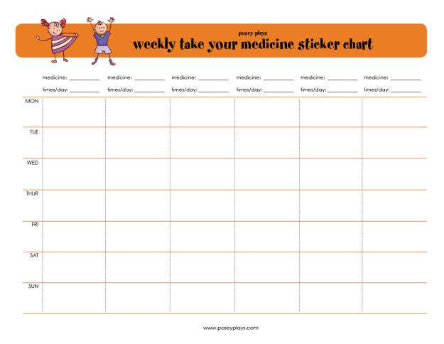 Printable chart for keeping track of kids medicines and rewarding ...