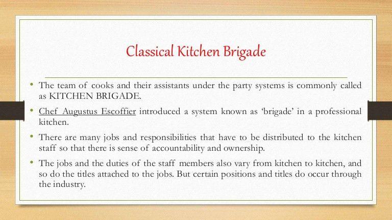 Organizational structure in kitchen