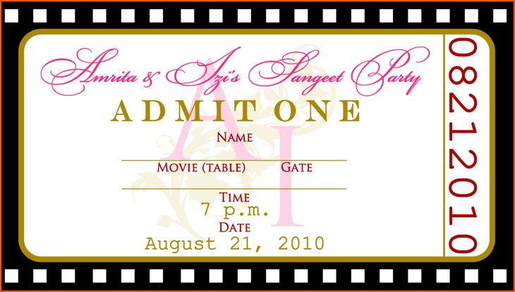 Movie Ticket Invitations Template | Belcantofour
