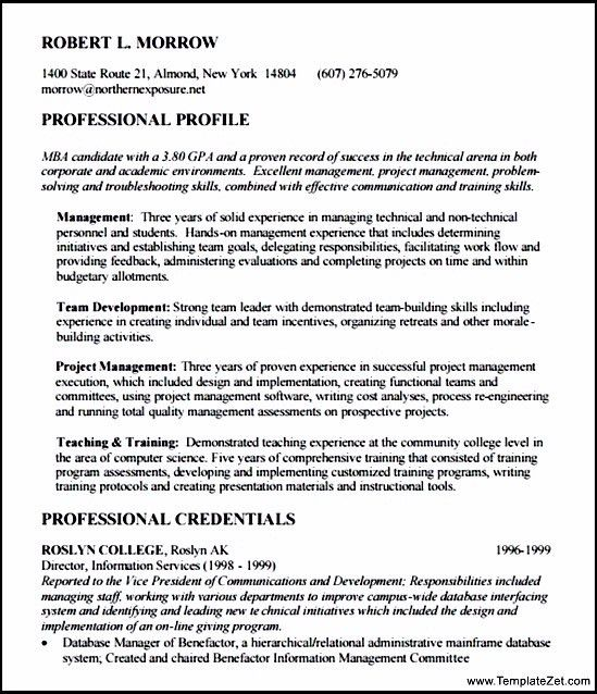 Sample MBA Resume Template Free | TemplateZet