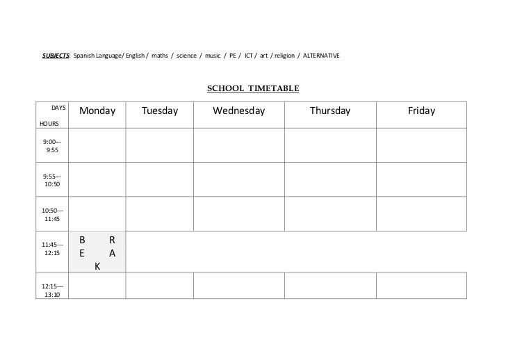 School timetable - template for kids