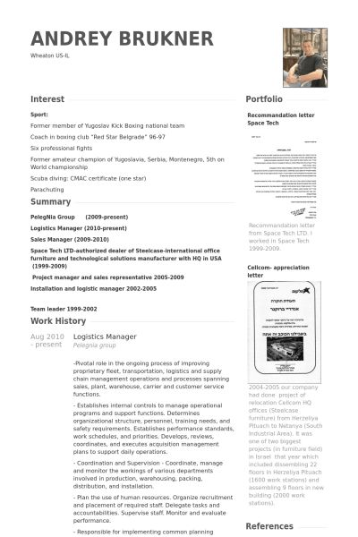 Logistics Manager Resume samples - VisualCV resume samples database