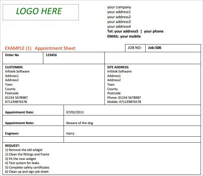 Job Sheet TemplateSample Sheet. Sample Job Sheet Template Excel ...