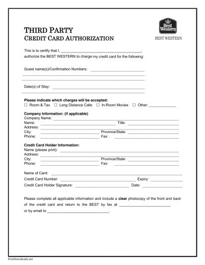 Download Best Western Credit Card Authorization Form Template ...