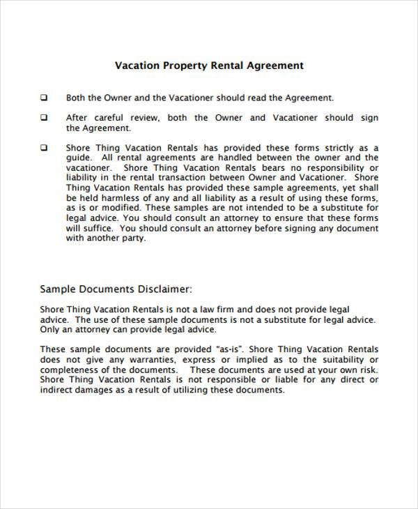 Vacation Rental Agreement Template. Rent Contract Template House ...