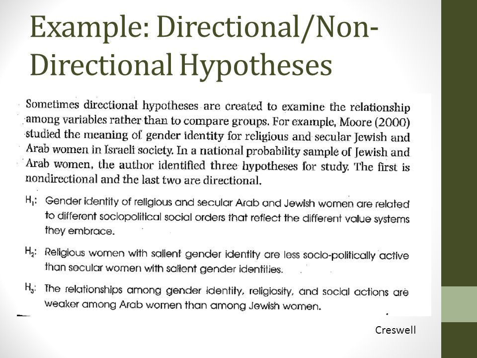 Research hypothesis and methodology non directional 217. Winter