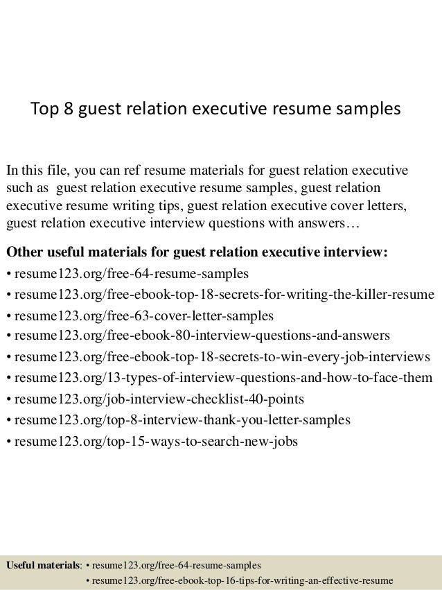 Top 8 Guest Relation Executive Resume Samples 1
