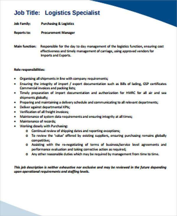 Logistics Job Description Sample - 12+ Examples in Word, PDF