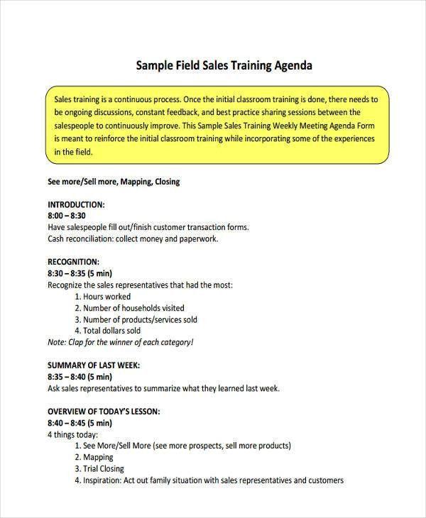 9+ Sales Agenda Templates - Free Sample, Example Format Download ...