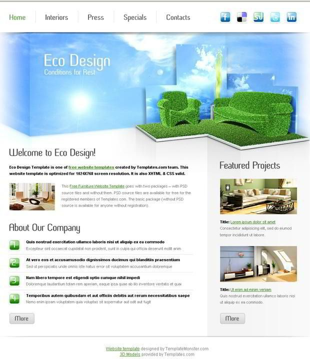 Free Furniture Website Template for Eco Design Company - MonsterPost