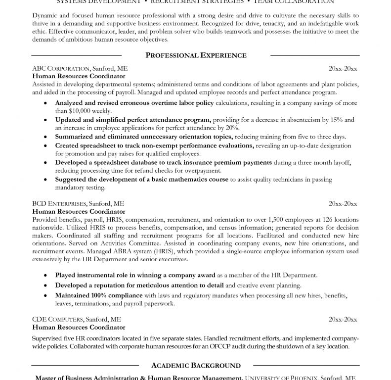 cool and opulent human resources resume objective 8 for hr resume ...