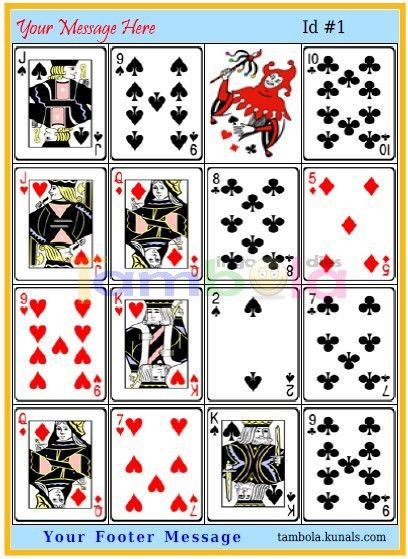 Playing Cards Joker Vertical Images Big Random in 4x4 format ...