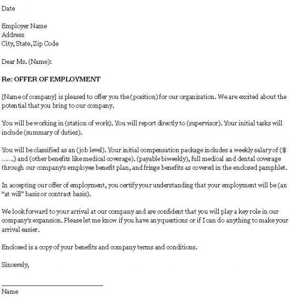 Job Offer Letter Sample Template | Best Business Template with ...