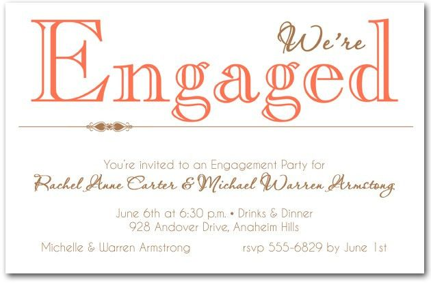 Coral We're Engaged Party Invitations
