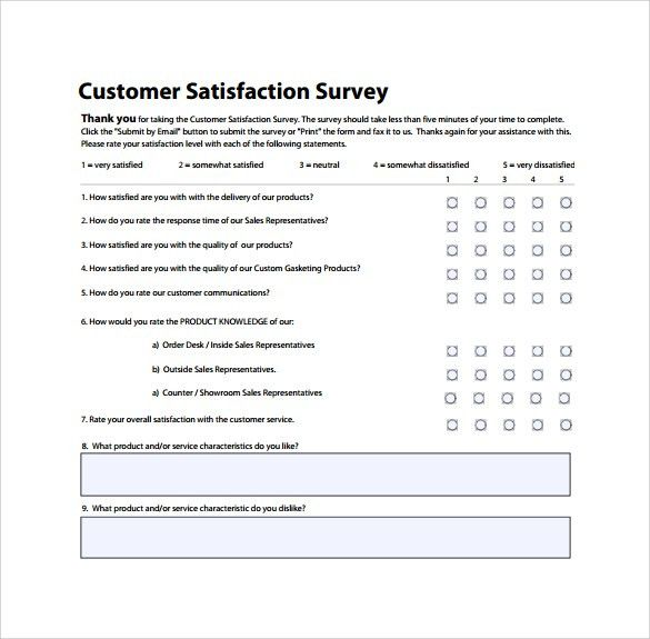 sample customer satisfaction survey questionnaire