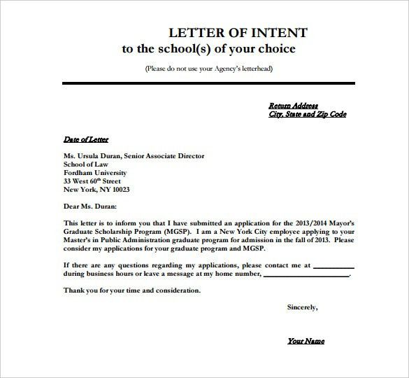 8+ School Letter Of Intent Templates – Free Sample, Example Format ...